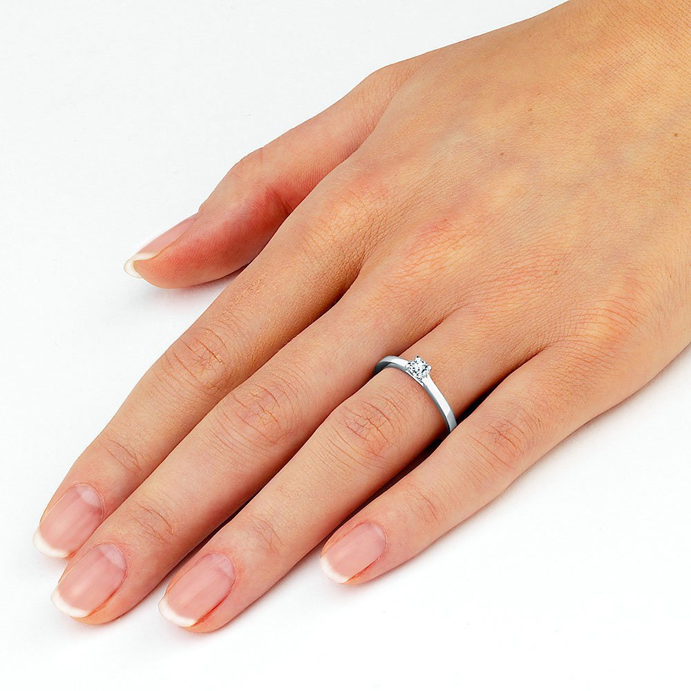Verlobungsring Modern in Silber mit Diamant 0,25ct H/SI Made in Germany