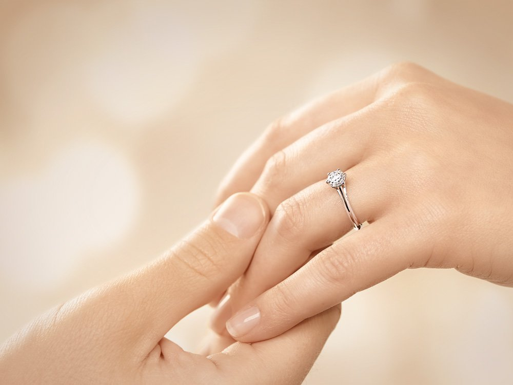 Solitärring Heaven 6 in 14K Weißgold mit Diamant 0,75ct H/SI Made in Germany