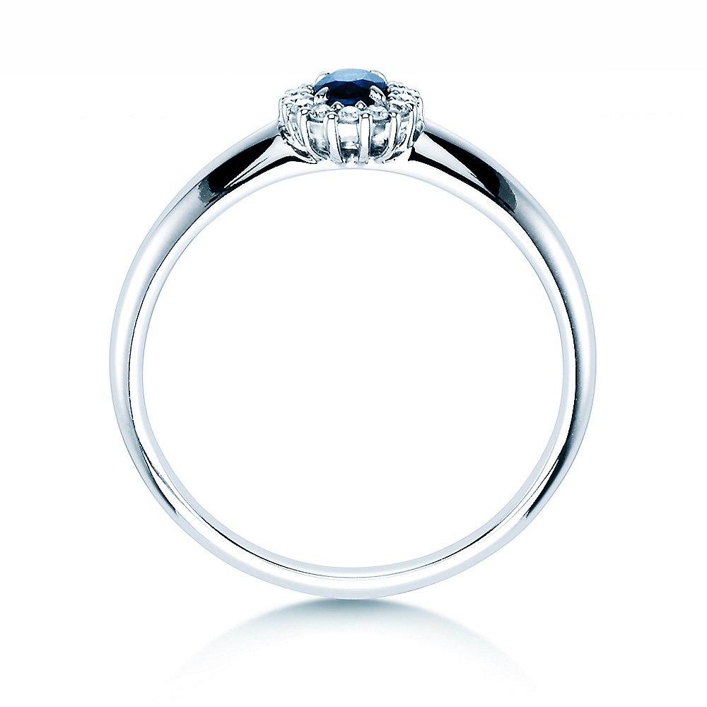 Saphir-Verlobungsring Jolie in 14K Weißgold mit Diamanten 0,06ct Made in Germany