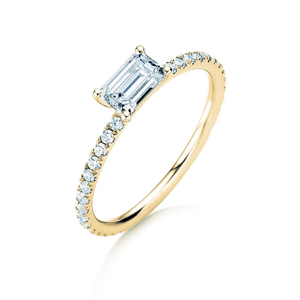Verlobungsring Emerald-Cut in 18K Gelbgold mit Diamant 0,80ct im Online Shop