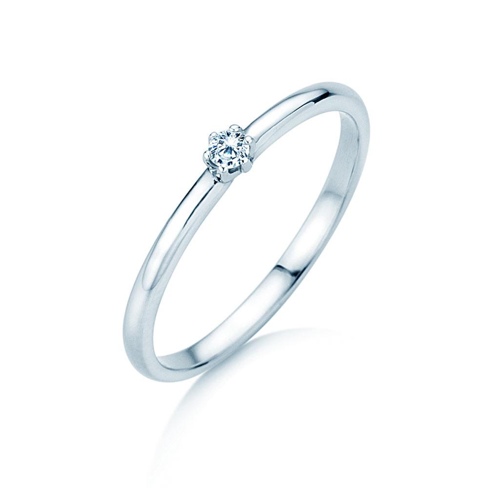 Verlobungsring Melody in 18K Weißgold mit Diamant 0,05ct G/VS im Online Shop