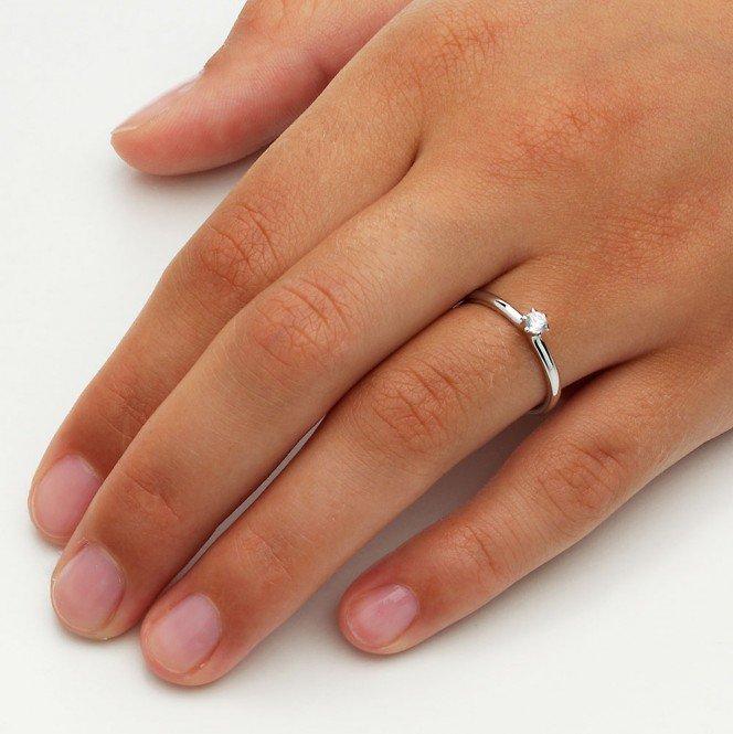Verlobungsring Classic in 14K Weißgold mit Diamant 0,10ct G/SI im Online Shop