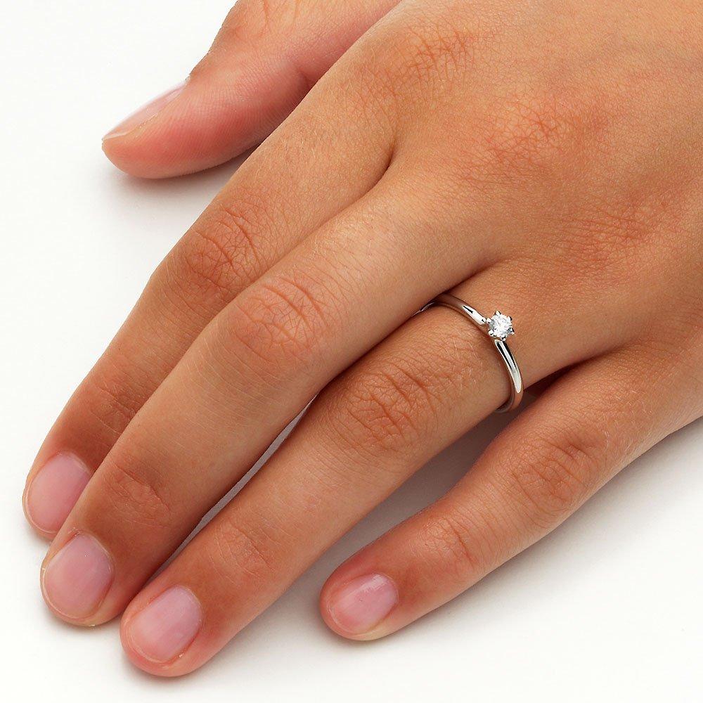 Verlobungsring Classic in 14K Weißgold mit Diamant 0,15ct G/SI im Online Shop