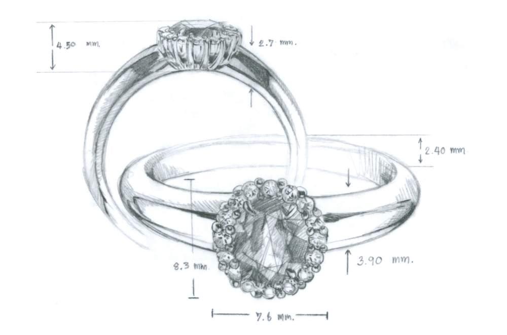 Saphir-Verlobungsring Windsor in 14K Weißgold mit Diamanten 0,12ct im Online Shop