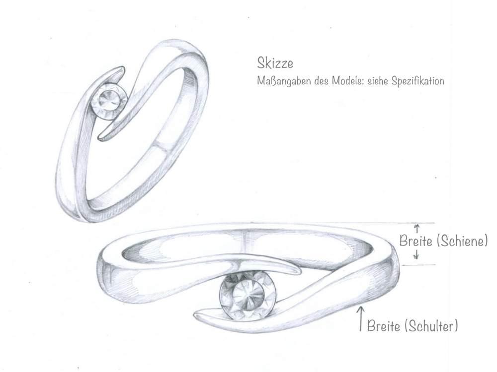Verlobungsring Twist in Silber mit Diamant 0,05ct G/SI handgefertigt