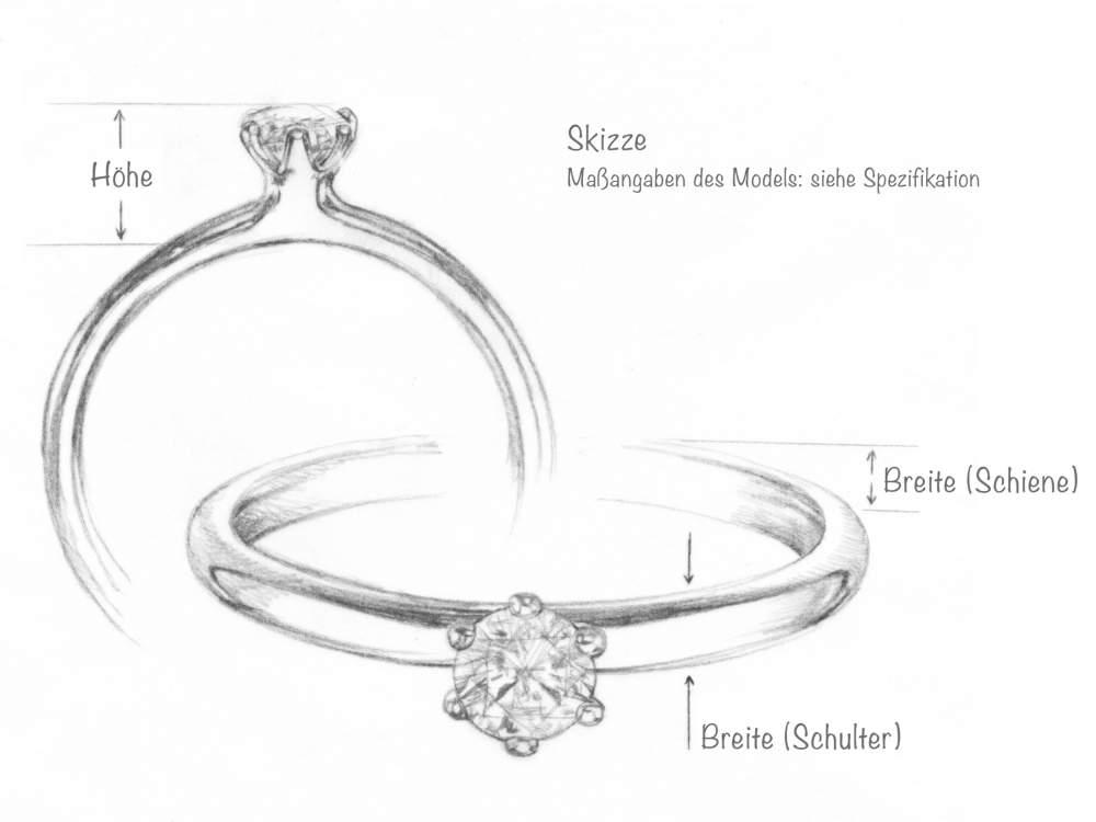 Verlobungsring Classic in Silber mit Diamant 0,10ct G/SI handgefertigt