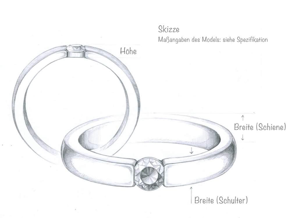 Verlobungsring Infinity in Silber und Diamant 0,10ct G/SI handgefertigt
