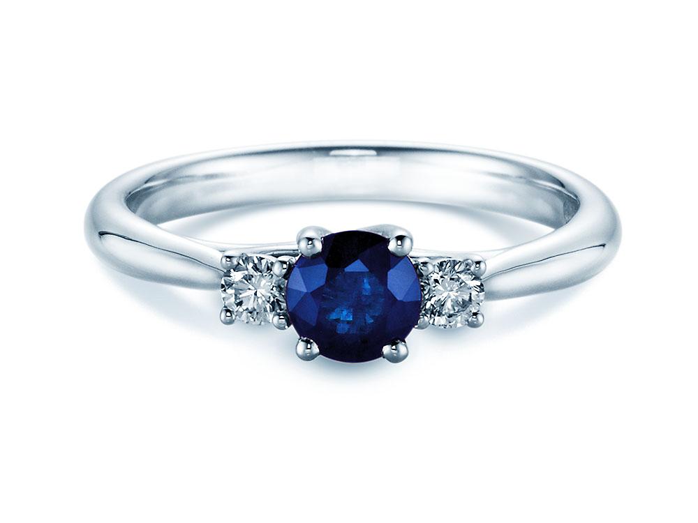 Weißgold ring mit saphir  Kate Middleton Sterling Silber 925 Verlobungsring Mit Blau Saphir ...